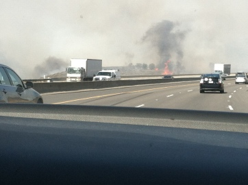 The hills were covered in smoke and there were fires all over...even right by the highway.