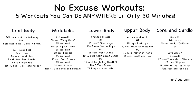 No Excuses Workouts you can do ANYWHERE in 30 minutes – Home Workout Plan No Equipment