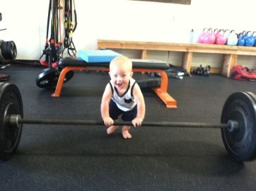 baby deadlifting