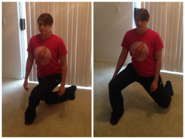 curtsy to front angled lunge