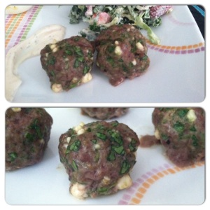 lamb, spinach and feta meatballs